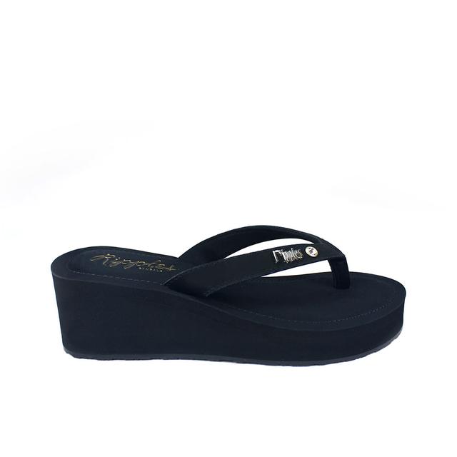 [SALE] Pearlyn Diamond Stud Leather Ladies Sandal Wedges (Black)