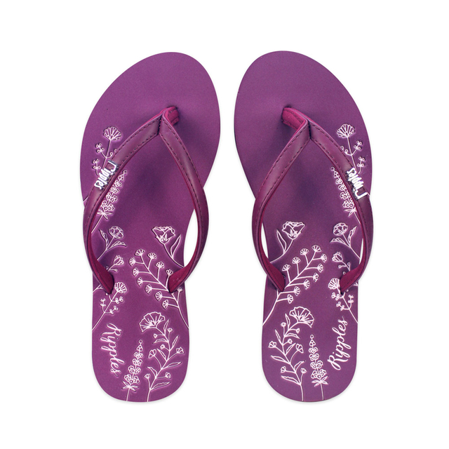 [SALE] Estella Floral Ladies Sandals (Maroon)