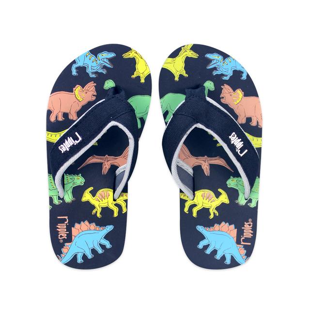Dinosaur Little Kids Flip Flops (Black)