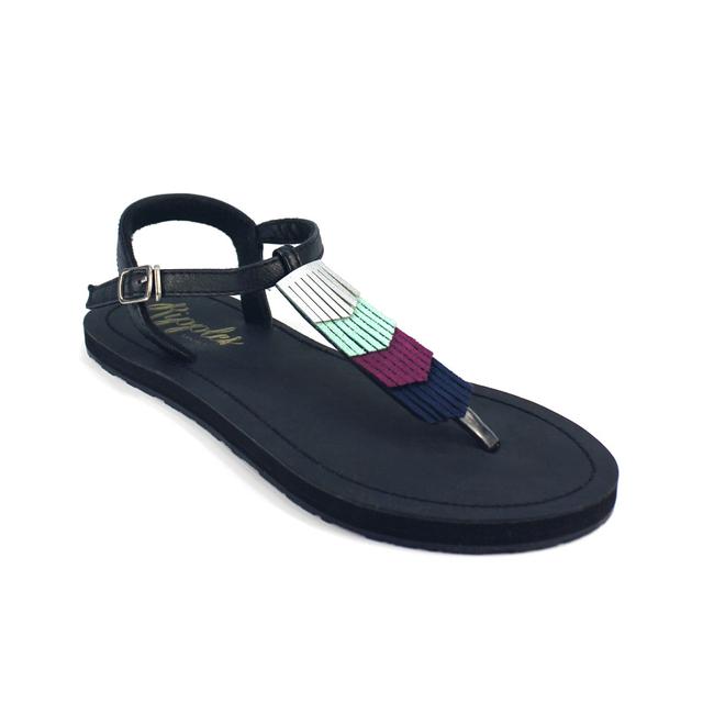 Fringe Laser Cut Slide'N'Style T-Bar Sandals (Silver/Black)