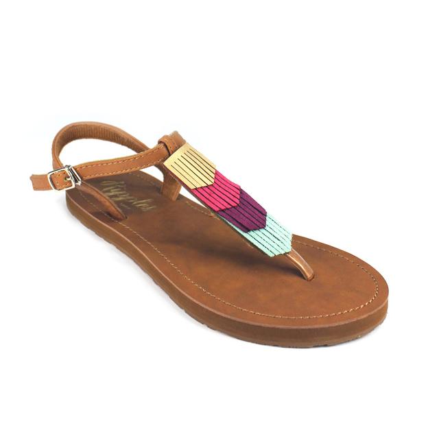 Fringe Laser Cut Slide'N'Style T-Bar Sandals (Gold/Brown)
