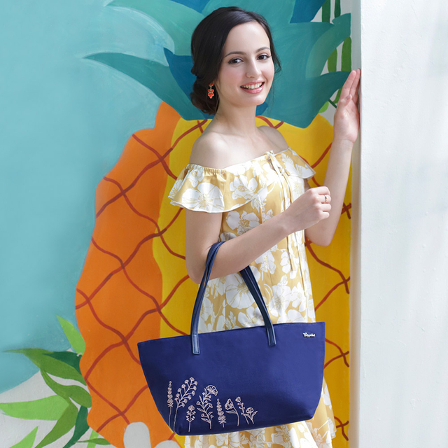 Estella Floral Embroidery Handbag (Navy Blue)