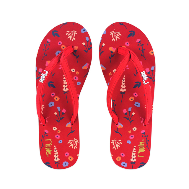 Alyssa Floral Ladies Flip Flops (Red)