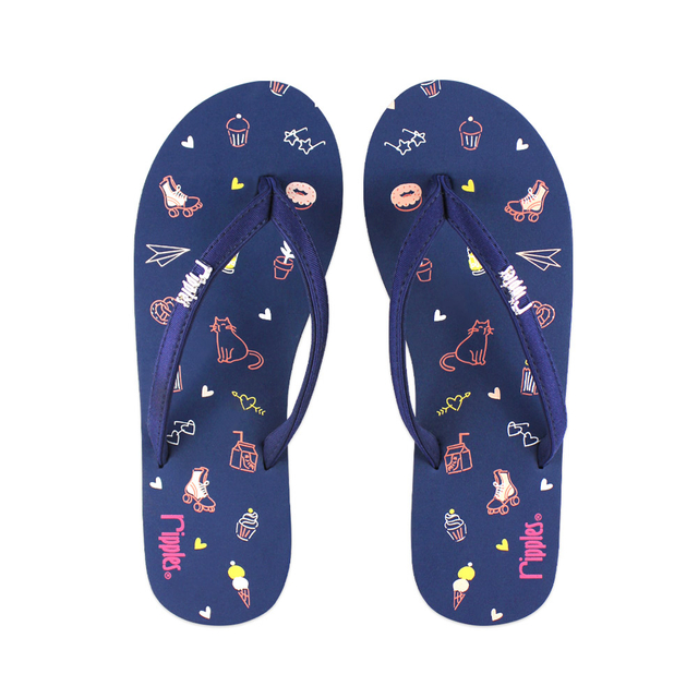 Tiny Things Ladies Flip Flops (Navy Blue)