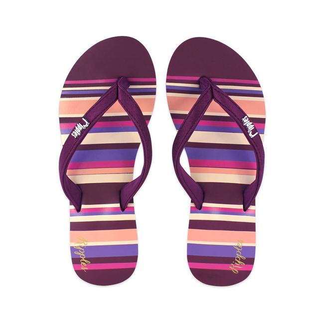 Lynette Stripes Ladies Sandals (Maroon)
