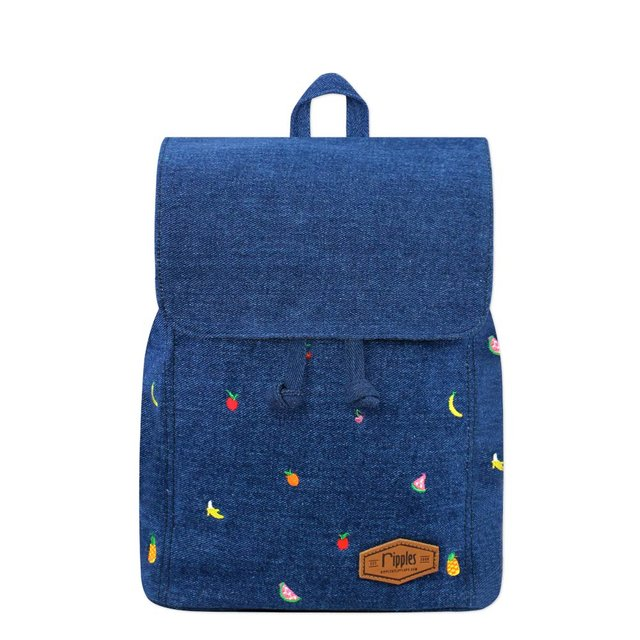 [PROMO] Tropical Fruits Embroidery Ladies Backpack (Mid Denim)