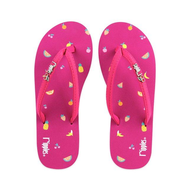 Tropical Fruits Ladies Flip Flops (Pink)