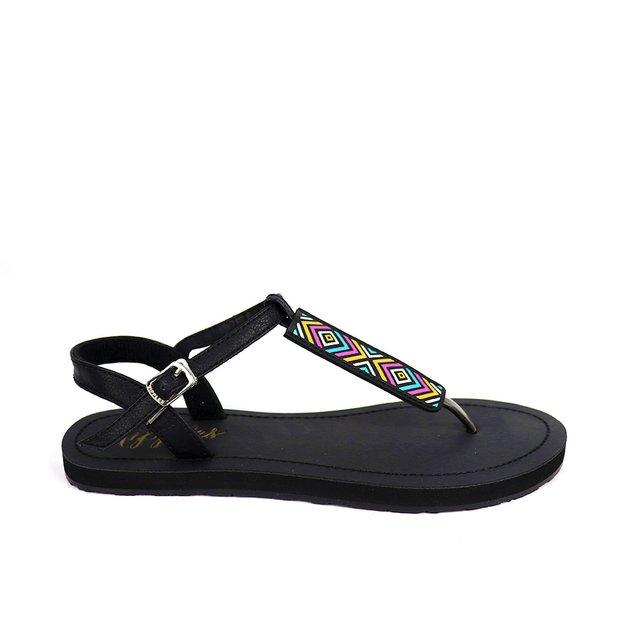 Rica Aztec Slide'N'Style T-Bar Sandals (Black)