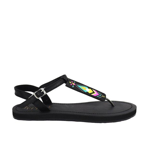 Elena Aztec Slide'N'Style T-Bar Sandals (Black)