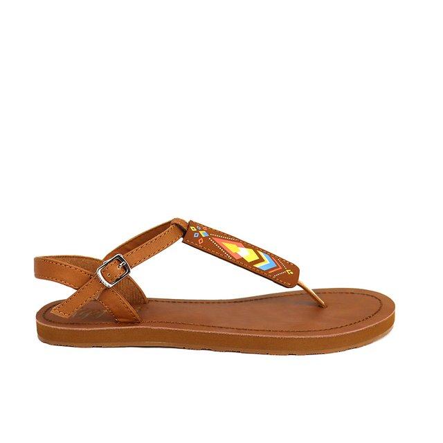 Elena Aztec Slide'N'Style T-Bar Sandals (Brown)