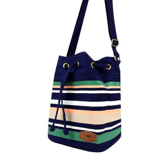 Lynette Stripes Bucket Sling Bag (Navy Blue)
