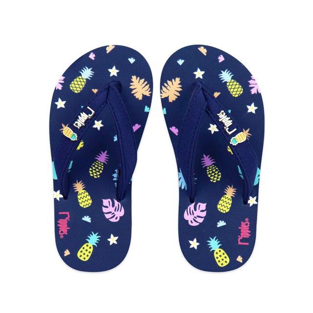 Pineapple Little Kids Flip Flops (Navy Blue)