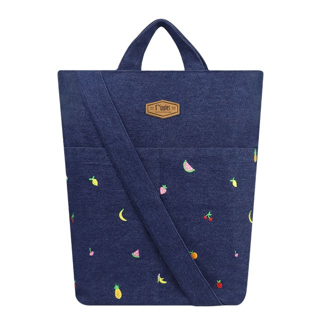 Tropical Fruits Embroidery Denim Sling Bag (Dark Wash)