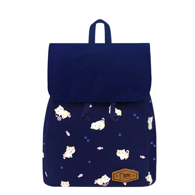 Kittens Canvas Ladies Backpack (Navy Blue)