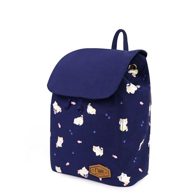 Kittens Canvas Ladies Backpack (Navy Blue)