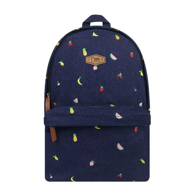 [PROMO] Tropical Fruits Embroidery Denim Backpack (Dark Wash)