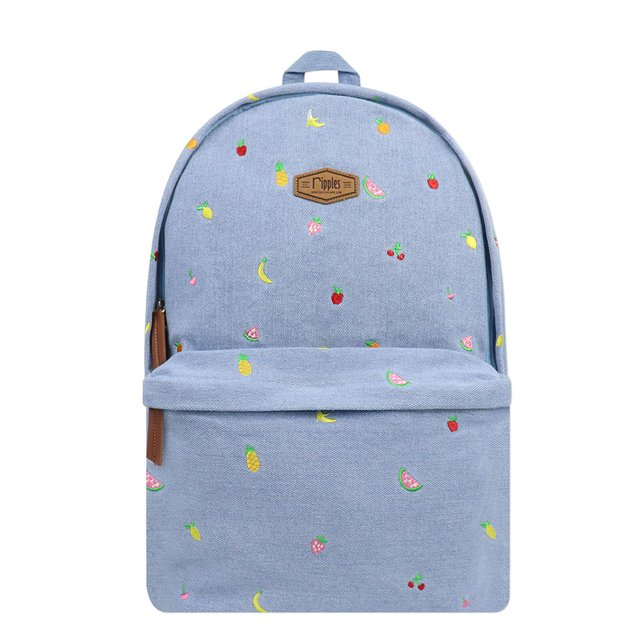 [PROMO] Tropical Fruits Embroidery Denim Backpack (Light Wash)