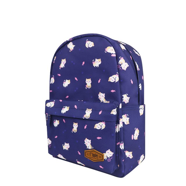 Kittens Mid Sized Kids School Backpack (Navy Blue)