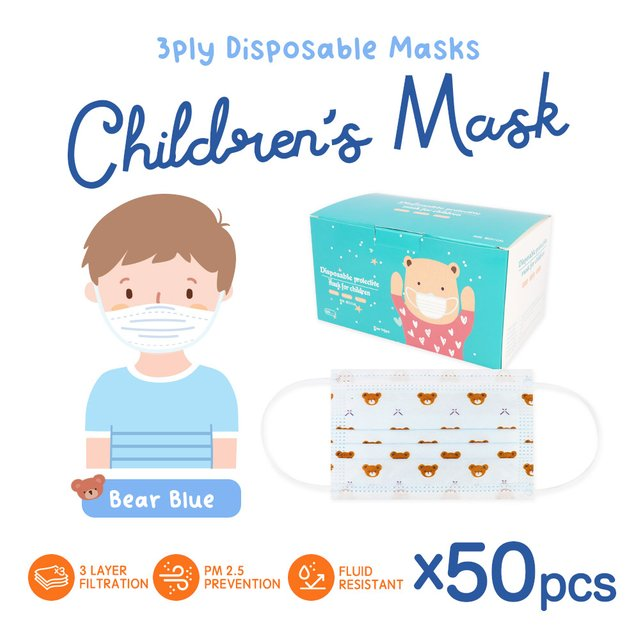 [50pcs] Children 3 Ply Disposable Face Mask (Bear Blue)