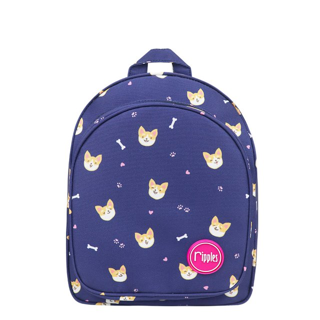 Corgi Dog Kids Backpack (Navy Blue)