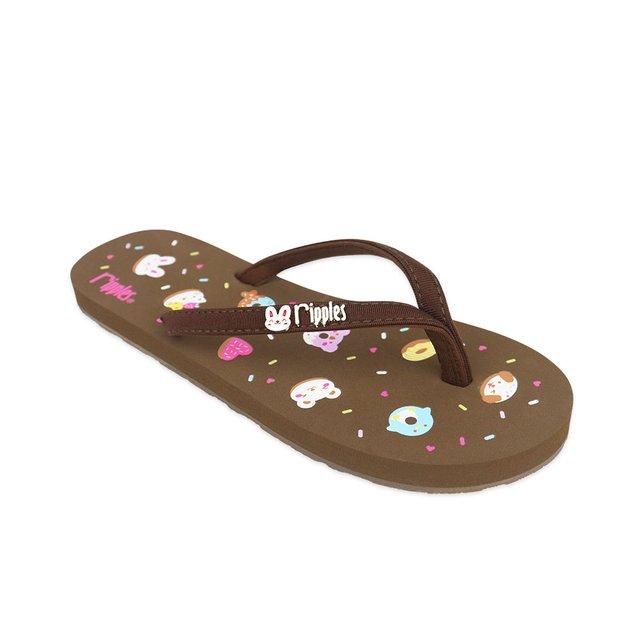 Animal Donuts Ladies Flip Flops (Brown)