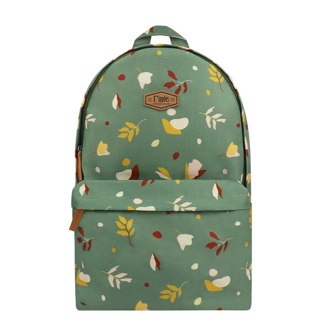 Abstract Leaves Digital Print Backpack (Willow Green)