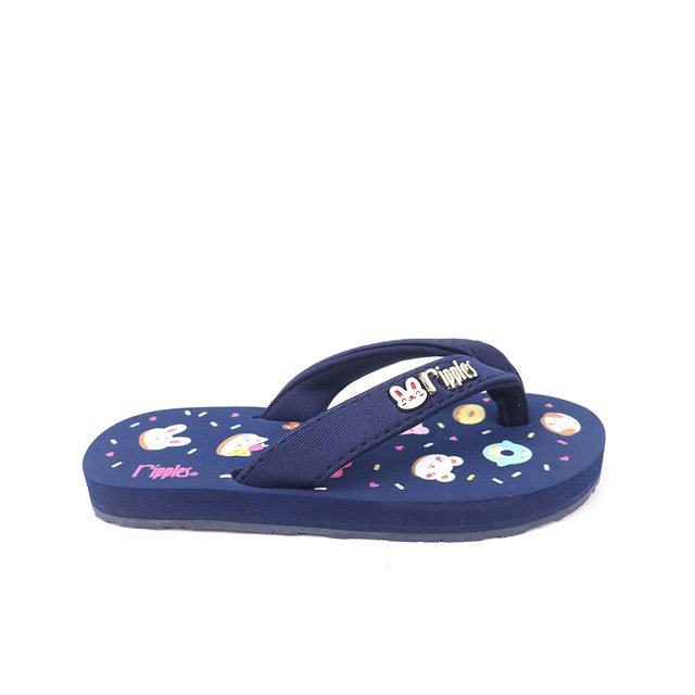Animal Donuts Little Kids Flip Flops (Navy Blue)