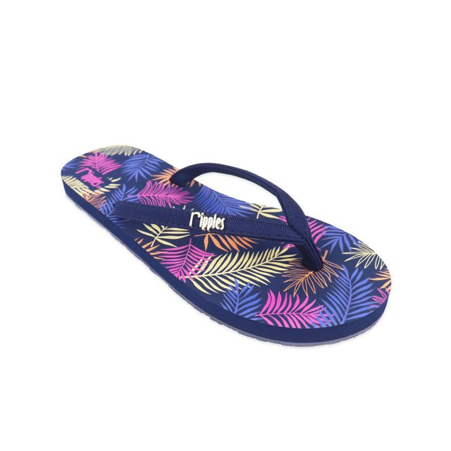Tropical Leaves Ladies Flip Flops (Navy Blue)